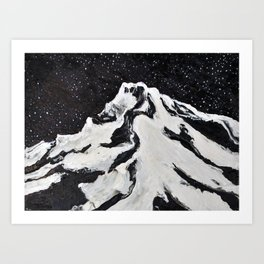 Mount Hood and Stars Art Print