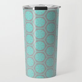 Hexagonal Dreams - Grey & Turquoise Travel Mug