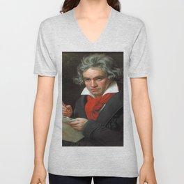 Joseph Karl Stieler - Portrait of Beethoven Unisex V-Neck