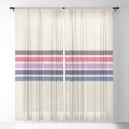 Five Trendy Stripes on White 17 Sheer Curtain
