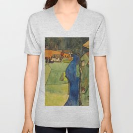 "Egon Schiele ""Stadt am blauen Fluss (Town on the blue river)"" Unisex V-Neck"