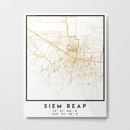 SIEM REAP CAMBODIA CITY STREET MAP ART Metal Print
