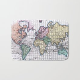 Vintage Map of The World (1780) Bath Mat