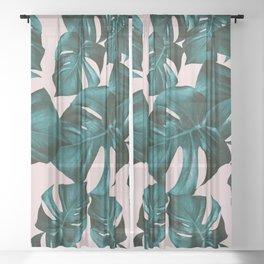 Monstera Leaves Pattern #4 #tropical #decor #art #society6 Sheer Curtain