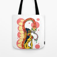 anaconda Tote Bags featuring Anaconda  by BlackForestArt