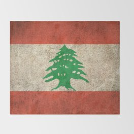 Old and Worn Distressed Vintage Flag of Lebanon Throw Blanket