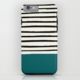 Dark Turquoise & Stripes iPhone Case
