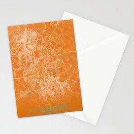 Lilongwe, Malawi, Gold, Blue, City, Map Stationery Cards