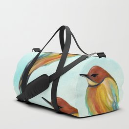Watercolor Bird Pattern - Multicolor Feathers - Abstract Blue Sky Duffle Bag