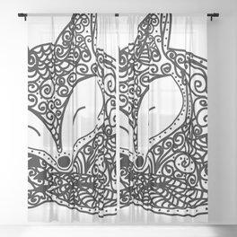 Black and White Mandala Fox Design Illustration Sheer Curtain