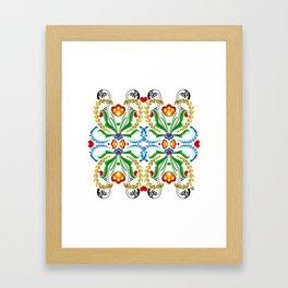 Scandinavian Folk Art ~ Tulip Mosaic Framed Art Print
