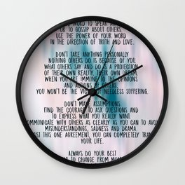 The Four Agreements - Colorful Wall Clock