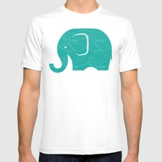 Fun at the Zoo: Elephant White Mens Fitted Tee SMALL