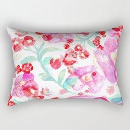Summer watercolor flowers hot pink blossom Rectangular Pillow