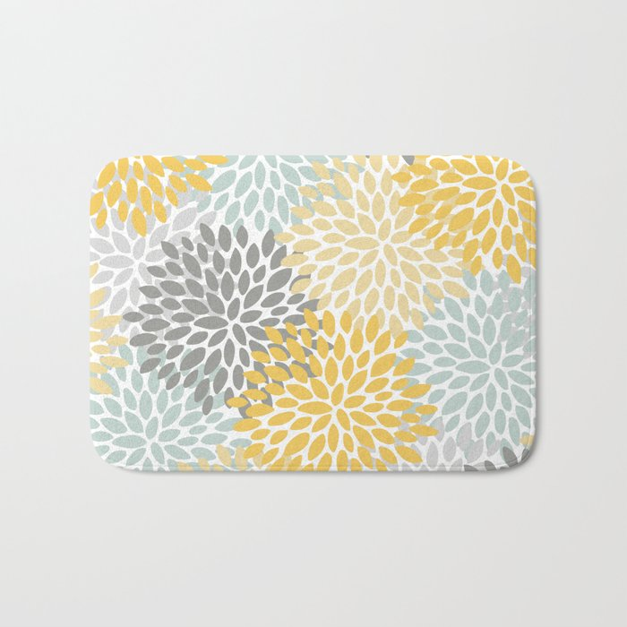 Floral Pattern, Yellow, Pale, Aqua, Blue and Gray Bath Mat