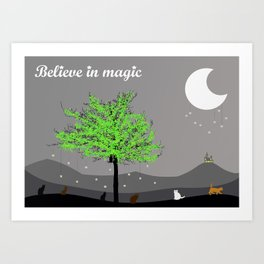 Believe in magic (coloured cats) Art Print