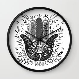 Hamsa Hand – Black & Grey Palette Wall Clock