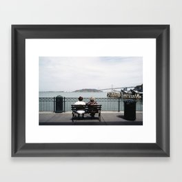 Two Women Sitting on a Bench Framed Art Print