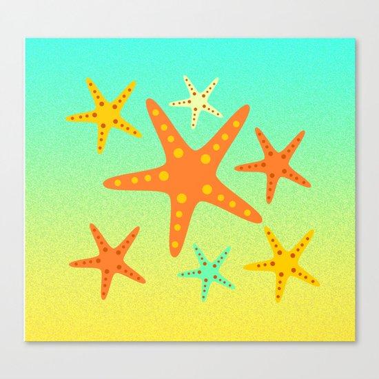Sand, ocean and sea stars Canvas Print