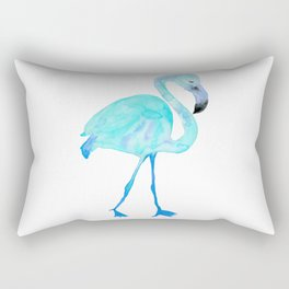 Aqua Watercolor Flamingo Rectangular Pillow
