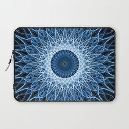 Bright blue and white mandala Laptop Sleeve