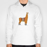 lama Hoodies featuring Peruvian Lama by Maureen Placente