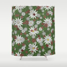 White and Red Flower Pattern on Green Background Shower Curtain