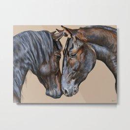 Horses Greeting Metal Print