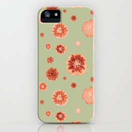 Large floral print on sage green backdrop iPhone Case