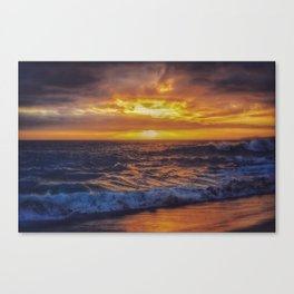 Sky and waves on fire - Victoria Beach Canvas Print