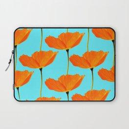 Poppies On A Turquoise Background #decor #society6 #buyart Laptop Sleeve