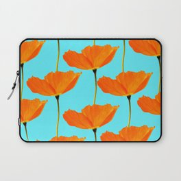 Poppies On A Turquoise Background #decor #society6 #buyart Laptop Sleeve