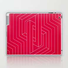 Modern minimal Line Art / Geometric Optical Illusion - Red Version  Laptop & iPad Skin