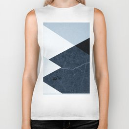 Geometrics II - blue marble & silver Biker Tank