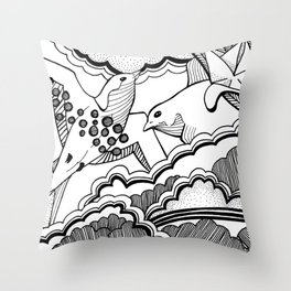 Swallows in the clouds Throw Pillow