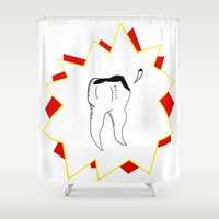 tooth Shower Curtains featuring Chipped Tooth by oozingsalt