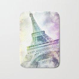 PARIS Watercolor Eiffel Tower | rainbow-coloured Bath Mat
