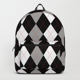 Argyle pattern black grey and red Backpack