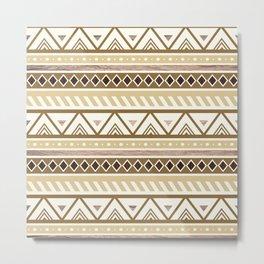 Rustic Brown Tribal Pattern Metal Print