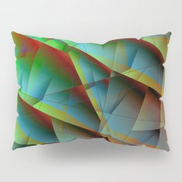 Abstract bright pattern of green and overlapping blue triangles and irregularly shaped lines. Pillow Sham
