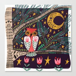 Folk Art Night Owl Canvas Print