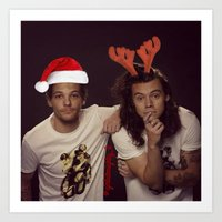 larry stylinson Art Prints featuring Funny Larry Stylinson Christmas by girllarriealmighty