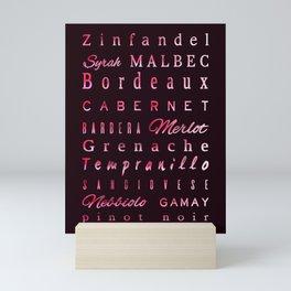 Red Wine Types Typography Poster Mini Art Print