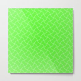 Bright Neon Green Tennis Ball Seams Repeating PatternBright Neon Green Tennis Ball Seams Repeating P Metal Print