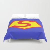 superhero Duvet Covers featuring Superhero - Superman by Chloe Cristina