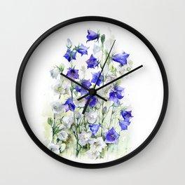 Bluebells watercolor flowers, aquarelle bellflowers Wall Clock