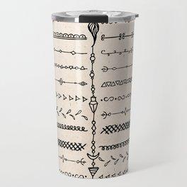Vintage white modern black bohemian aztec pattern Travel Mug