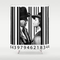 casablanca Shower Curtains featuring Inside a Barcode. by Luigi Tarini