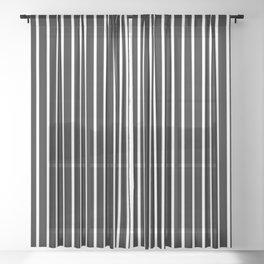 Large White Pinstripe on Black Sheer Curtain