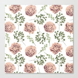 Roses Pattern on White Canvas Print